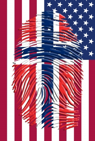 Noorwegen vlag fingermark en USA vlag Stockfoto