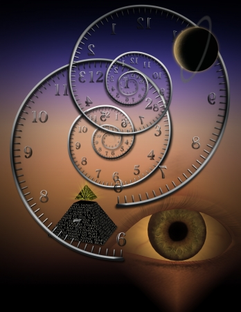 Spiral clocks and space time Stock Photo