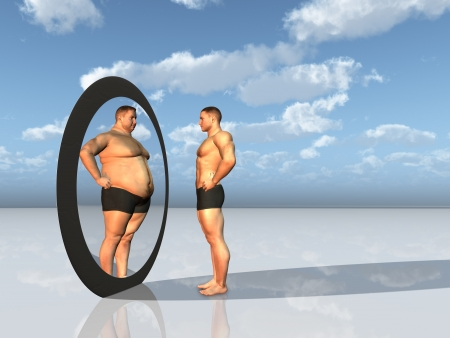 naked male body: Man sees other self in mirror