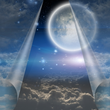 moon gate: Veil of sky pulled open to reveal other