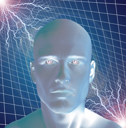 Man surreal with electricty photo