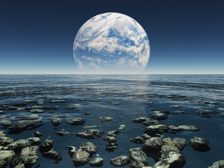 sci: Rocky Watery Landscape with planet or earth with terraformed moon in the distance