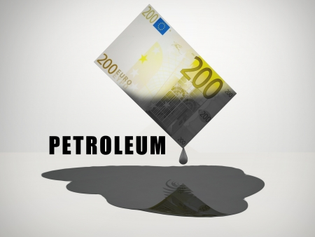 out of gas: Oil Drips from 200 Euro Note