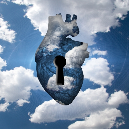 keylock: Heart with key in clouds