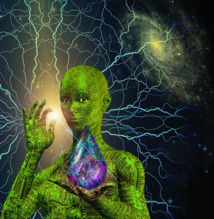 alien women: Sci Fi Scene with Android Stock Photo