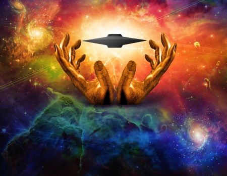 Saucer Ship between Golden Hands Stock Photo - 20167983