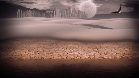 extreme science: Gleaming silver city in desert Stock Photo