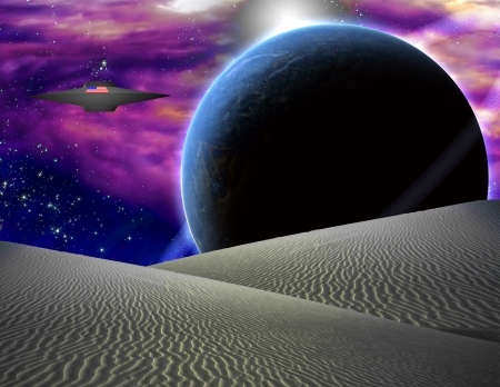 American Space Craft Hovers Over Alien Landscape Stock Photo - 20352061