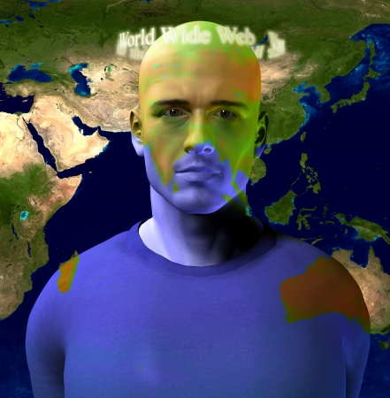 World Wide Web Encircles Mans Head with World Map photo