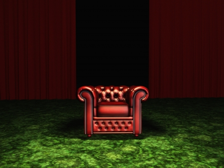 arm chair: Luxurious Arm Chair in Room with Green Carpet and Red Curtains