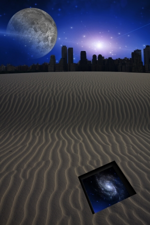 desolate: Desert with city and opening to the stars
