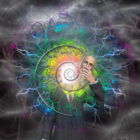 Spiral of time and energy explode from man as a god reveals himself photo
