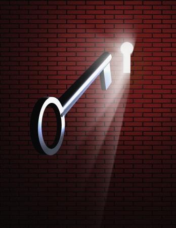 key to freedom: Clave y ojo de la cerradura con la luz