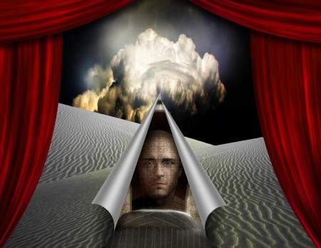 Desert curtain scene opened to another  Stock Photo
