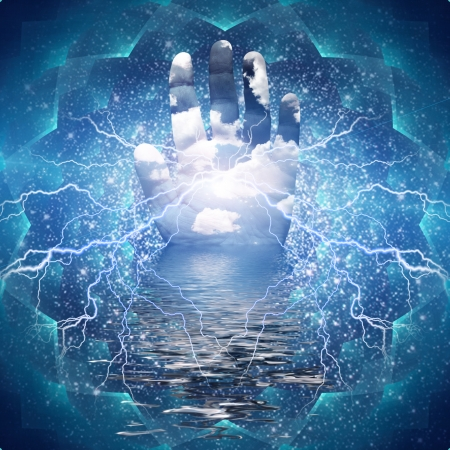 Powerful energy in hand palm Imagens