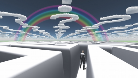 Man in maze with question mark shaped clouds photo