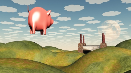 floating: Factory and floating pig