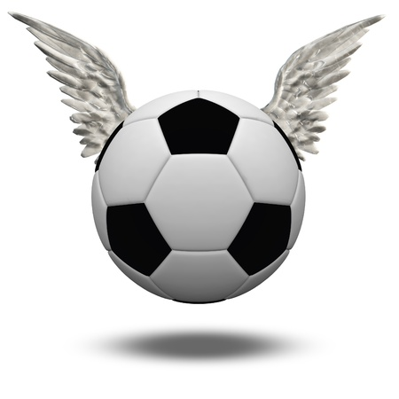 Soccer Ball with Wings Isolated on White photo