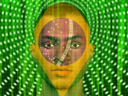 Brazil man with streaming binary photo