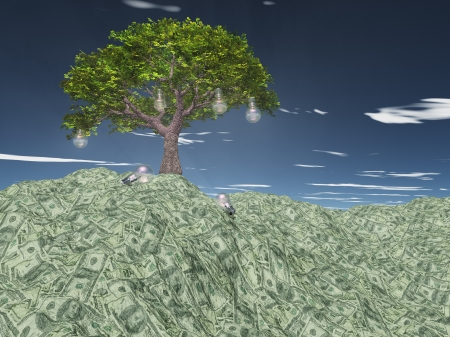 lucrative: Tree with light bulbs grows out of US currency mountain
