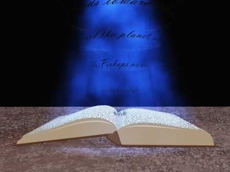 bible light: Book with floating text and light