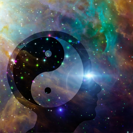 karma design: Yin Yang Head Stock Photo