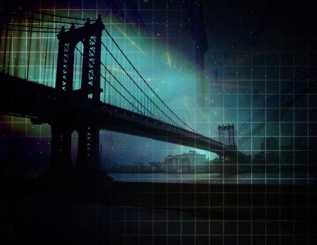 clock tower: City Bridge Abstract