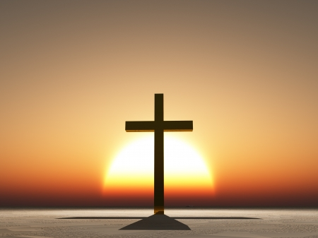 christian faith: Sunset or sunrise with cross Stock Photo