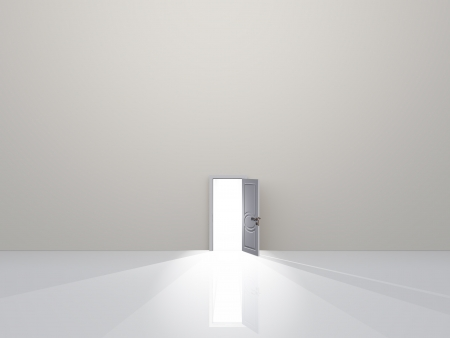 Single door in pure white space emaits light Stock Photo
