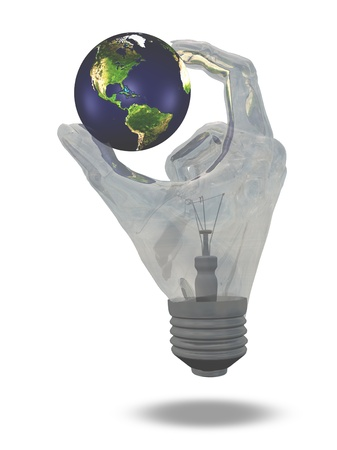 Light Bulb hand holds earth showing north and south america photo