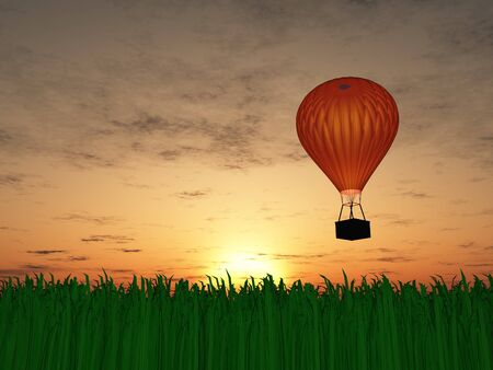 Hot air balloon sunset photo