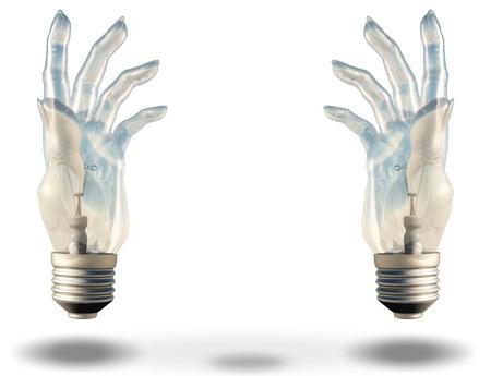 Two hand shaped light bulbs frame space