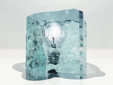 stopped: Light bulb frozen in ice