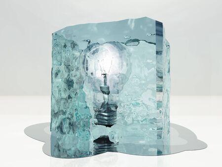halted: Light bulb frozen in ice