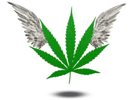 reefer: Marijuana Leaf with wings Stock Photo