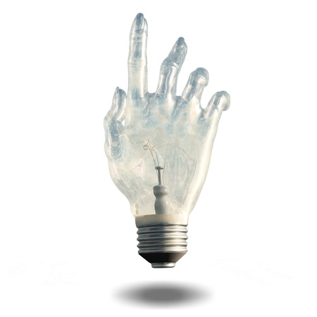 Pointing light bulb Stock Photo