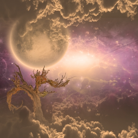 heaven on earth: Tree and moonrise with misty clouds Stock Photo