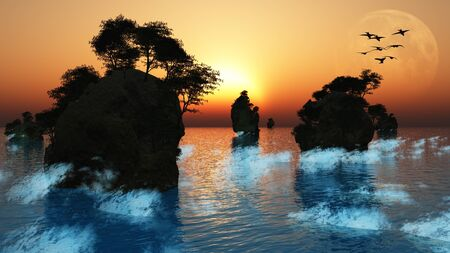 islets: Sunrise or set with moon and rocky islets