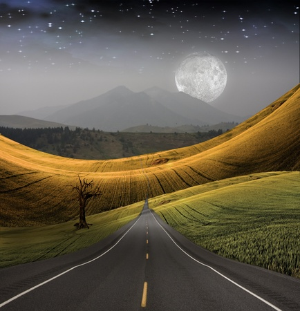 spiritual journey: Road leads into distance Stock Photo