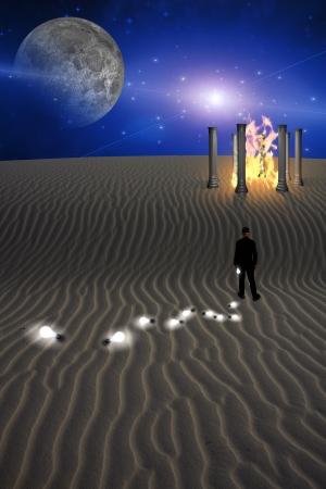 Trail of Idea bulbs in desert photo