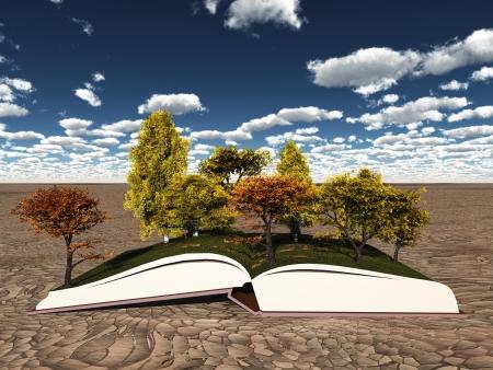 Herfst bomen op het boek