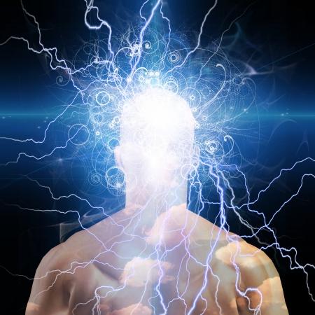 universum: Mans Kopf mit Sternen und Wolken Lizenzfreie Bilder