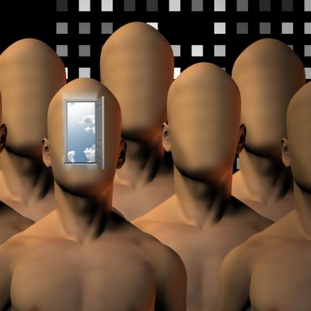 end times: Robot like figures  with open door Stock Photo