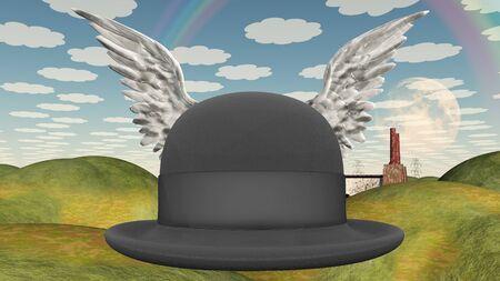 bowler hat: Winged Hat in surreal landscape