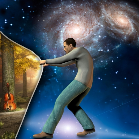 concept magical universe: man pulls back curtian showing peaceful scene with violin