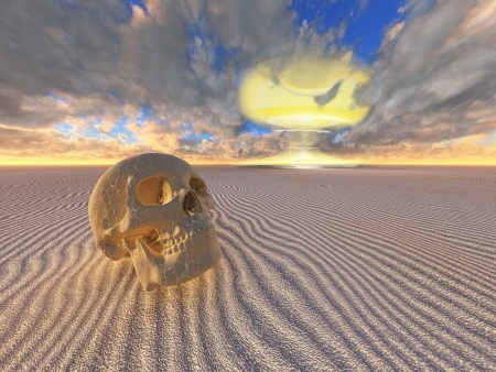 human skull and nuclear explosion in desert photo