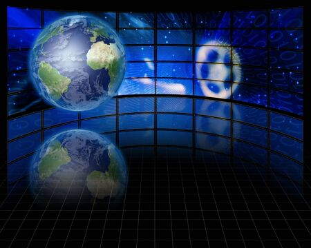 multimedia background: Screens and binary with Earth Stock Photo
