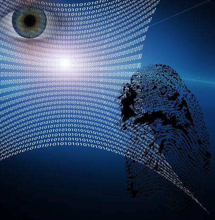 Binary web and fingerprint with human eye photo