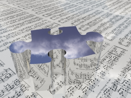 Puzzle and sheet music reflecting clouds Sheet music is proviede with 3D software used to create this image and no realese is needed Stock Photo
