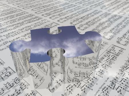 partition musique: Puzzle et musical qui reflète les nuages ??Partitions est proviede avec le logiciel 3D utilisé pour créer cette image et pas realese est nécessaire Banque d'images